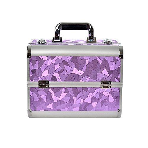 MCTECH® Caso cosmetico Cofanetto Trucco BeautyCase Valigia Make-up Case di Caso Bagaglio a Mano Valigia Nail Art 32 * 21 * 26 cm Viola