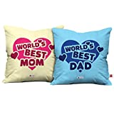 Indigifts Mom Dad Anniversary Gift World's Best Mom & Dad Multi Cushion Cover 12x12 inch with Filler Set of 2 - Gift for Mother's Day, Mom-Mumma-Dad-Papa-Parents-Birthday, Father's Day