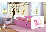 Kocot Kids Kinderbett Jugendbett 70x140 80x160 80x180 Rosa mit Rausfallschutz Matratze Schublade und Lattenrost Kinderbetten für Mädchen - Fee mit Flügeln 180 cm