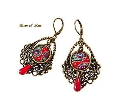 Boucles d'oreilles Akshaya inde cadeau ethnique rouge perle