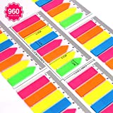 FANDAMEI 6 Packs Index Tabs - 960 Pcs PET Colorful Translucent Rectangle and Arrow Sticky Notes Flags, Sticky Page Markers with 12 cm Measurement Used as Reading Label Bookmarks