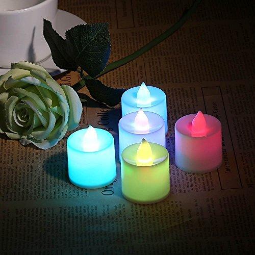 lederTEK Conjunto de 24 Velas de Colores en Forma de Cilindro con un led Luminoso para Crear un Ambiente Romántico