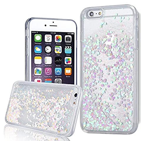 Coque iPhone SE Liquide Sables Mouvant , We Love Case Bling Glitter Amour Paillettes Coque pour iPhone 5 Coque iPhone 5S Bumper Souple Gel Silicone Bord + Dual Layer Plastique Dur Étui de Protection Sparkle Briller Quicksands Housse Cristal Clair Coque Silicone Cover Transparent avec Motif Paillettes Rose Blanc