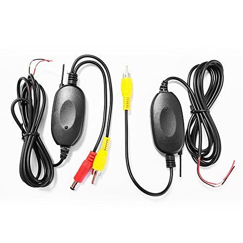 XOMAX XM-KL001 Kabellos Adapter für Rückfahrkamera / Einparkhilfe + Funk Transmitter Set + kabellose Videoübertragung + einfacher Anschluss über Cinch Anschlüsse + 12V Anschluss + Empfänger & Sender im Set Xm Adapter