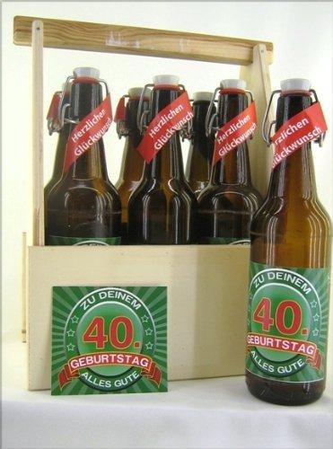 6er Bierträger aus Holz Spruch zum 40. Geburtstag