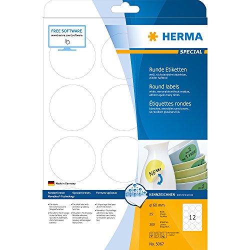Preisvergleich Produktbild Herma 5067 Universal-Etiketten ablösbar, wieder haftend (rund, Ø 60 mm auf DIN A4 Papier, matt, Movables) 300 Stück auf 25 Blatt, weiß, bedruckbar