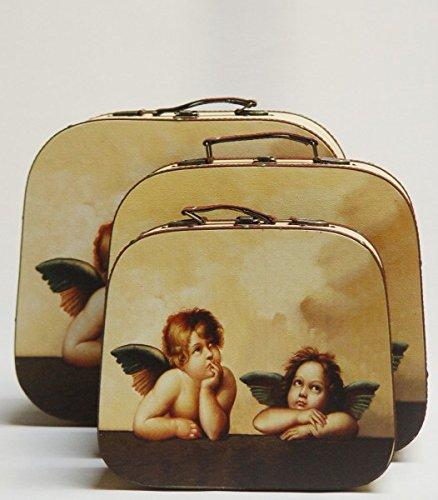 Drei teiliges Kofferset verschiedene Größen verziert mit jeweils zwei kleinen verträumten Engeln