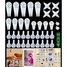 Set di ganci multifunzione, confezione da 39 pezzi, per appendere quadri, orologi, specchi su pareti in muratura e in cartongesso