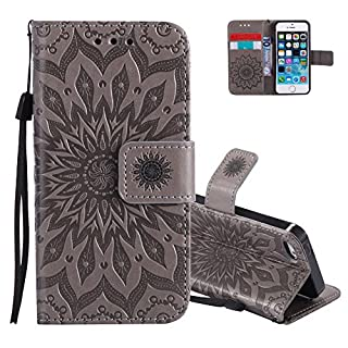 Aeeque Flip Cover Ledertasche,Hochwertig Prägung Sonnenblume Muster Schutzhülle,Kartenfach Ständer Brieftasche kompatibel mit iPhone 5 5S SE (4.0 Zoll) mit Lanyard Weich Silikon Innere Bumper, Grau