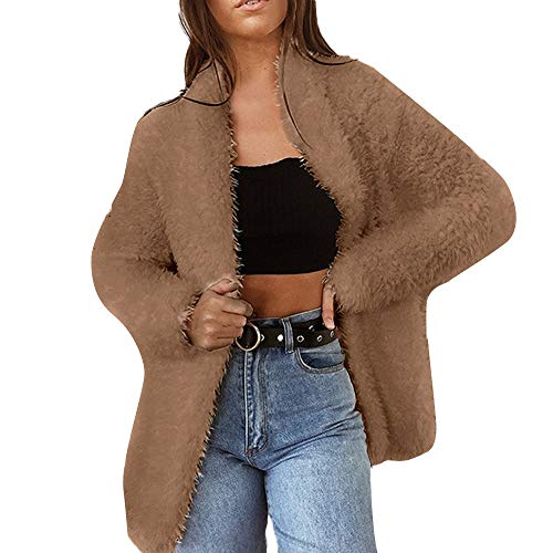 Warme Faux Mantel MYMYG Solid Color Langarm Mantel Wolle Strickjacke Anzug Winter Warm Coat(Braun,EU:34/CN-S)