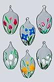 Ostereier Glas Lauscha Set 6 versch. Blumenmotive mit Glasöse