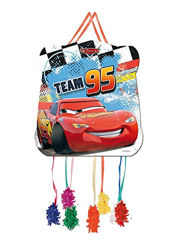 Pinata * CARS Team 95 * // Wird mit Süssigkeiten oder Spielen gefüllt, ca. 28cm Durchmesser // Piñata Mexiko Kinder Geburtstag Kindergeburtstag Spiele Spass Disney Jungen Autos Rennwagen (Rennen-auto-teller)