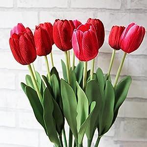 deanyi 10pcs Classic Flor de seda artificial flores, Tulipanes, Tulipanes rojos para boda, Dama d 'onore boda ramo Home…