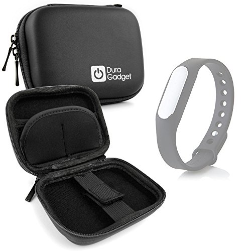 DURAGADGET Custodia Rigida Nera per Xiaomi Mi Band 1S / Mi-Band | Jawbone UP3 / UP2 - con Elastici - Ideale per I Viaggi! - Alta qualità