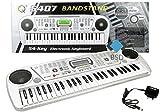 Keyboard MQ5407 mit Aufnahmefunktion und Mikrofon - 100 Klangfarben, 10 Sounds und 100 Rythmen, zwei Stereo Lautsprecher, Lautstärkeregler, LCD-Anzeige - Electric Piano