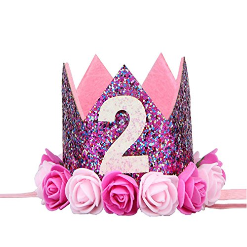BESTOYARD Krone Baby 2.Geburtstagskrone Diadem Stirnband Prinzessinkrone Blumen Krone Tiara Haarband Größe 6