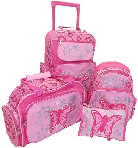 STEFANO Kinder Reisegepäck Schmetterling pink rosa --präsentiert von RabamtaGO-- (Set 4 teilig)