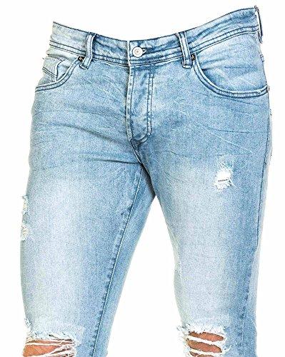 Project X - Jeans bleu clair homme slim déchiré aux genoux Bleu