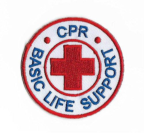 CPR Basic Life Support Patch Embroidered Iron on Badge 8cm rot Kreuz DIY Applikation Kostüm Arzt Krankenschwester Paramedic (Kostüm Scrubs Krankenschwester)