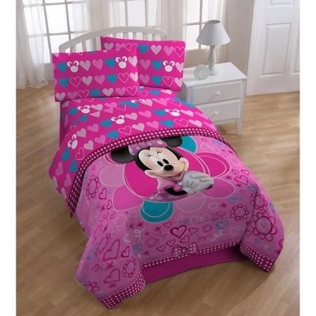 Pour enfant 11PC Ensemble Chambre à coucher, Minnie Mouse Twin/Full Doudou, complète de lit, couverture, oreiller Buddy, et Lot de 2panneaux de rideaux avec embrasses