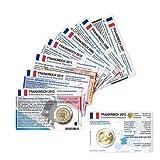 Set - 8 Münzkarten (ohne Münze) für 2-Euro Gedenkmünzen Frankreich 2007-2013