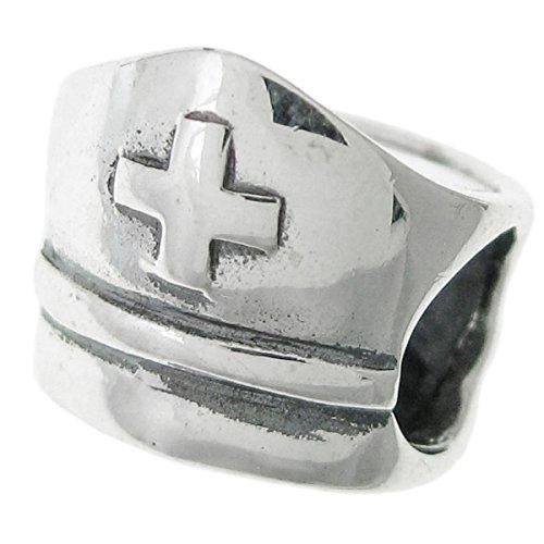 925Sterling Silber Health Care Love Krankenschwester Hat Erste Hilfe Kreuz Gap Perle für europäische Charm Armband (Pearl-kreuz-armband)
