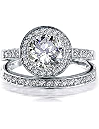 Bling Jewelry 925 Sterling Silver Round 2ct CZ Engagement Wedding Band Ring Set