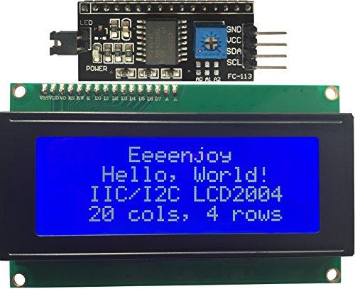 Zeichen 20 (Eeenjoy I2C 2004 LCD Bildschirm Modul Weiß auf Blau IIC/I2C/TWI serielle Schnittstelle 20x4 Zeichen LCD Display Für Arduino und Raspberry Pi)