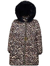 6160f4967da3 JollyRascals Girls Coat New Kids Leopard Print Padded Fur Trimmed School Jacket  Animal Print Hooded Warm