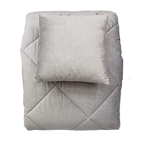 Borbonese twist velluto trapunta invernale matrimonile cm. 270x270 +2 cuscini arredo variante grigio perla
