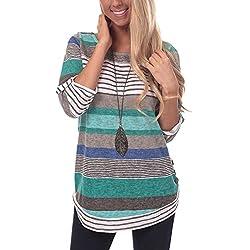Lover-Beauty Mujeres Verano Camisetas Pullover Casual Camisa Manga Corta Cuello V Blusa Rayadas Patchwork Elástico Tops