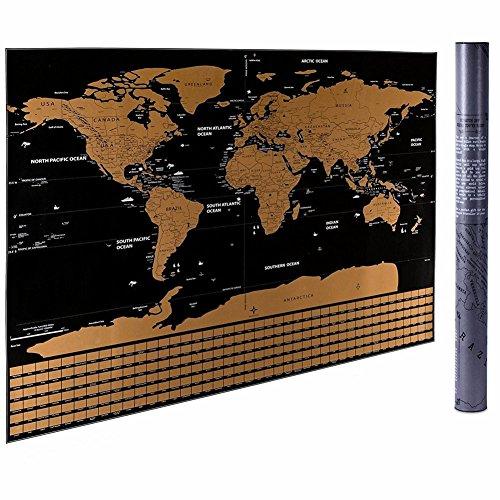 DavidFastShop ★ Scratch Off Weltkarte 60cm * 82cm Reise Weltkarte