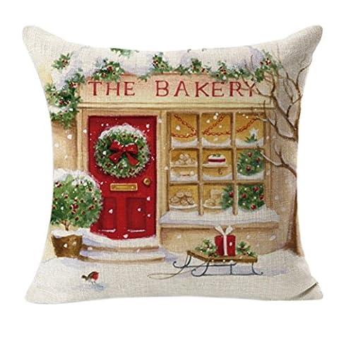 ZARU Weihnachten Leinen Platz Werfen Flachs Pillowcase Dekorative (D) (Rosen Quilt Muster)