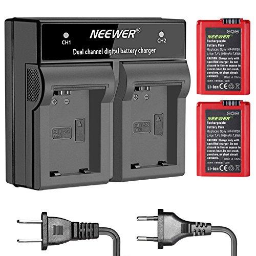 Neewer NP-FW50 7,4V 1030mAh Li-Ionen Ersatzbatterie (2 stück Rot) und Dual Ladegerät für Sony A7, 7R, A7R, 7S, A7S, A3000, A5000, A6000, NEX-3, NEX-3N