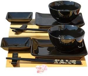 Gifts of the Orient Service à sushi avec bols Noir brillant Pour deux personnes