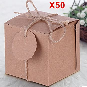 SurePromise 50pcs Candy Boxes Wedding Party Favor Vintage DIY Gifts for Kraft Shabby Square Sweet with Tags 12.5cm