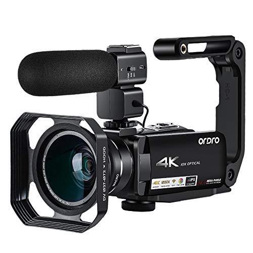 ORDRO 4K Videokamera - 4K Ultra HD Camcorder 10x Opt. Zoom Video Kamera 3.1'' Vlogging Kamera, 1080P 60fps Camcorder mit Mikrofon und Weitwinkelobjektiv, Perfekt für Familien -