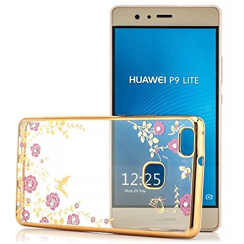 Saxonia iPhone 6 Plus / 6S Plus Coque Silicone Clair Case Ultra Mince Premium Cover Housse Etui TPU Bleu Transparent-Or / Blumen