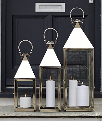 SALE Candle Lantern Tall Stainless Steel - High Quality - Wedding Garden Patio - Indoor Outdoor - 60cm H