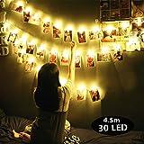 Guirlande Lumineuse LED, Morbuy Interieur Leds Fées Décoratives USB Blanche Chaude Romantique Lumière Idéal Pour La Saint Chambre Valentin Chambre Noël Mariage d'autres Fêtes (4.5m / 30 lumière)