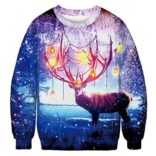 Party Kostüm Instrumental - 3D Drucken Weihnachtspullover für Paare Christmas Ugly Sweater Rundhals Herren Damen Sweatshirt Langarmshirt Festliches Top Weihnachten Pullover Longsleeve Pulli T-Shirt Streetwear Weihnachtskostüm