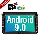 PUMPKIN Android 9.0 Autoradio für VW Radio mit GPS Navi 16GB Europakarten/DAB + Modul Unterstützt Bluetooth Android Auto WLAN 4G USB MicroSD Doppel Din 8 Zoll Bildschirm