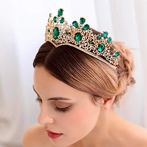 Unicra Barock Grün Kristall Krone Hochzeit Königin Diademe und Kronen für Frauen Dekorative Stirnbänder für Prom