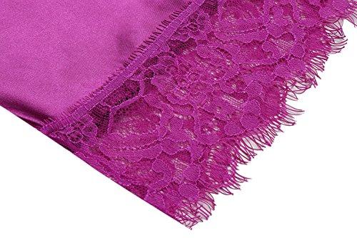 Keland Damen Morgenmantel Schlafkleid Nachtkleid Satin Schierer Kimono Kurze Robe Einfärbig mit Gürteln Lila