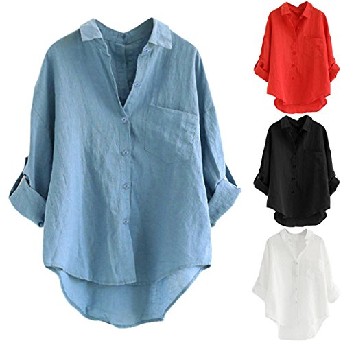 ef23177b802ef ... ❤ Bluestercool ❤ Womens V-Neck Shirts Office Casual Long Sleeve Button  Loose Fit Trendy Elegant Blouse Plus ...