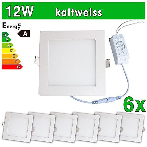 LEDVero 6x Ultraslim LED Panel SMD 2835, 12 W, eckig Deckenleuchte Lampe Einbau Leuchte Licht Strahler, kaltweiß SP185