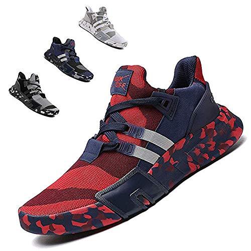 ZTM Scarpe da Corsa alla Moda Leggere Scarpe Sportive da Uomo Scarpe Sportive Traspiranti Scarpe da Passeggio,Red,10.5