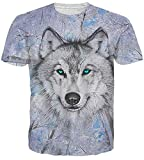 Idgreatim Unisex 3D Stampato Estate Casuale Manica Corta T Shirt Tees Lupo Maglietta Top Large