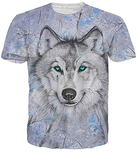 Idgreatim Männer Hip Hop 3D Druck Wolf T-Shirt Beiläufige Grafik T Shirts Kleine (Hip Hop-t-shirt)