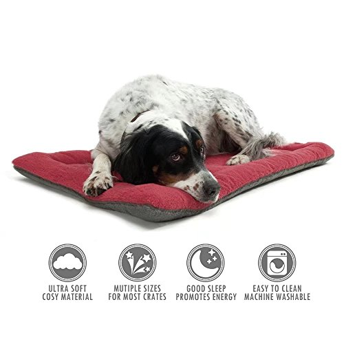 ubest Hundebett Comfort Hundekissen Herausnehmbares Hundematte Größe M, 70 x 50cm, Dunkelrot